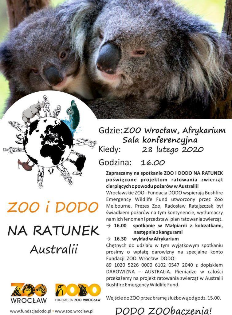 Plakat Zoo i Dodo na ratunek zwierzętom Australii