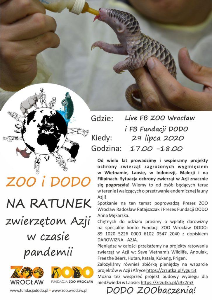 Plakat Zoo i Dodo na ratunek zwierzętom Azji w czasie pandemii