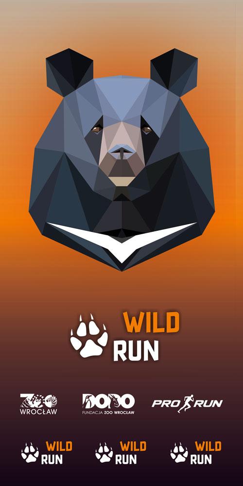 Projekt graficzny chusty Wild Run z niedźwiedziem himalajskim