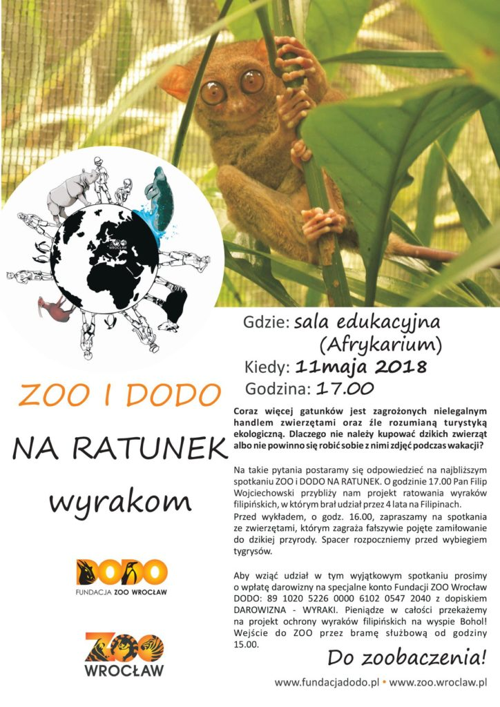 Plakat Zoo i Dodo na ratunek wyrakom 11.05.2018