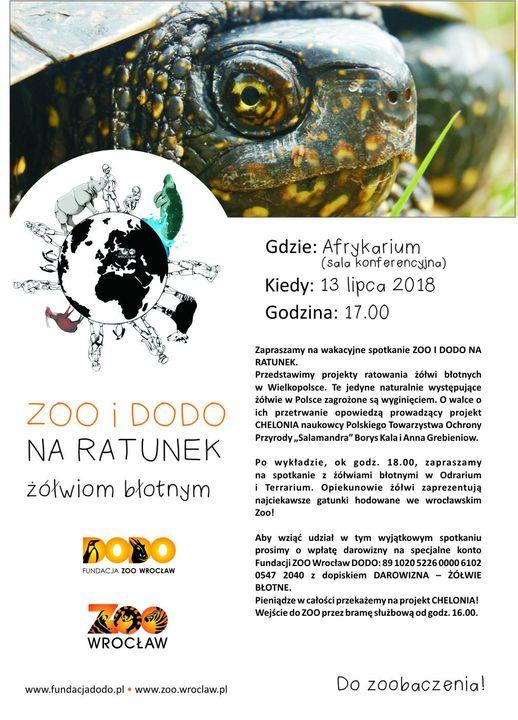 Plakat Zoo i Dodo na ratunek żółwiom błotnym 13.07.2018
