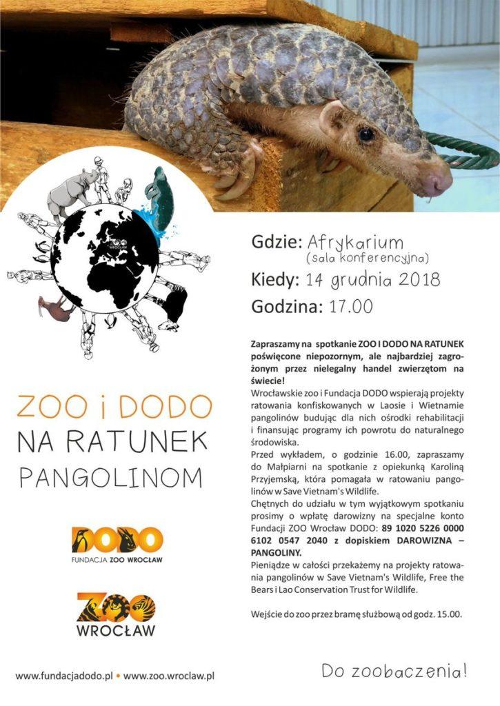 Plakat Zoo i Dodo na ratunek pangolinom14.12.2018