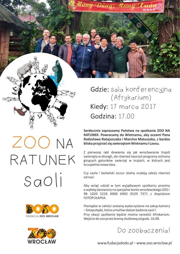 Plakat Zoo i Dodo na ratunek saoli 17.03.2017