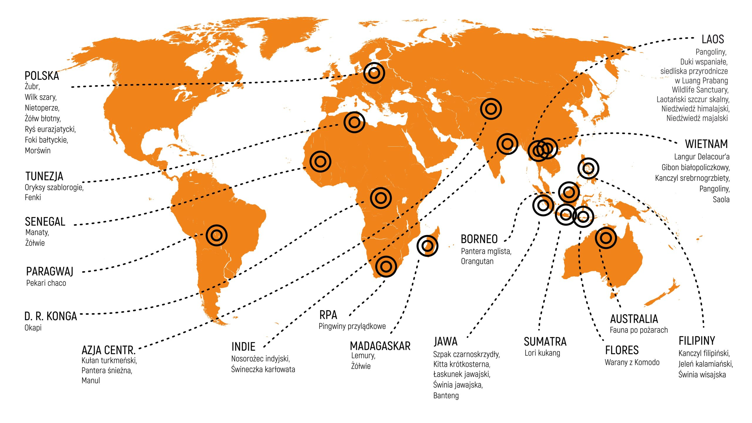 Mapa projektów Fundacji Dodo z wyszczególnieniem gatunków